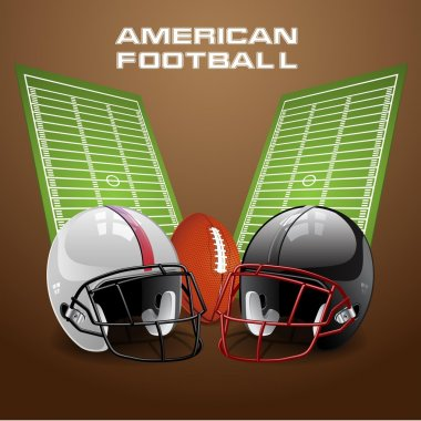 Vector illustration of american football helmet and ball on a field