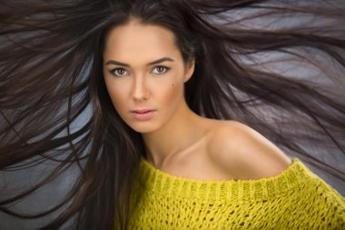 Portrait of a charming sexy brunette with long flowing hair wind
