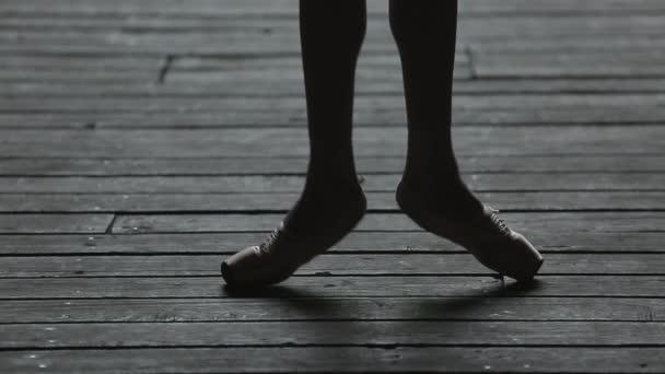 Video footage graceful ballerina dancing feet