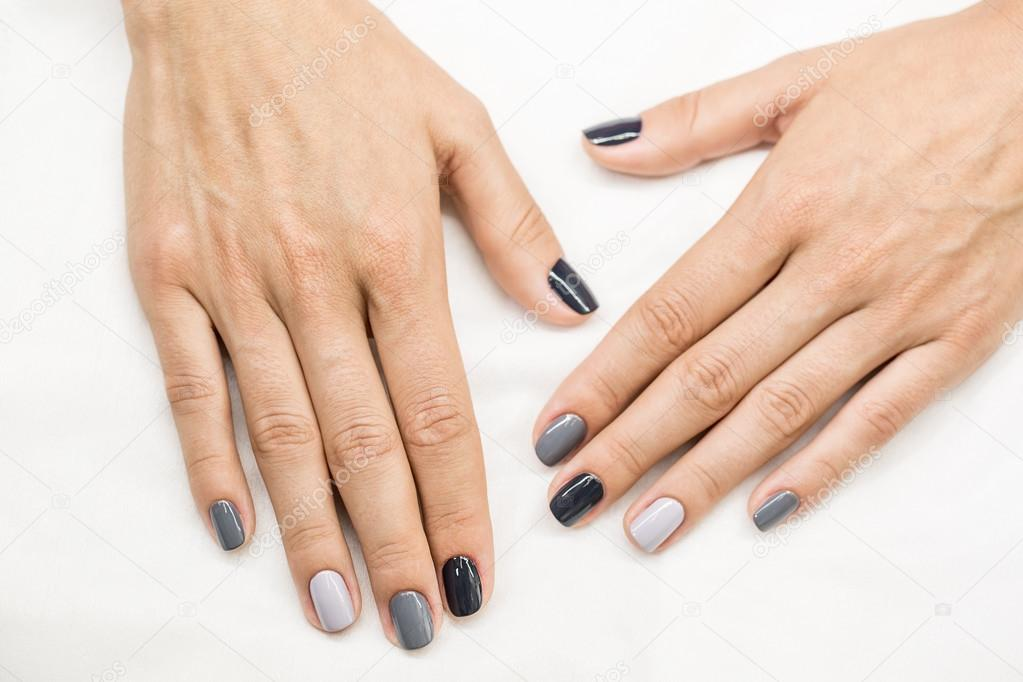 Beautiful manicure on hands of the girl