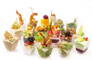 Canapes of meat and seafood