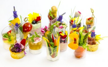 Canapes with edible flowers