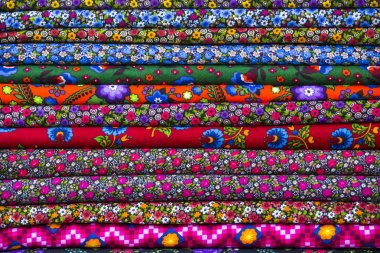 Colorful fabric scarves