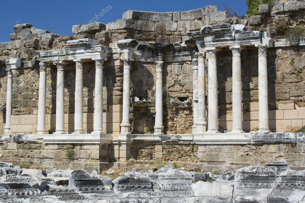ancient city of side in turkey stock photo lester120 79258138