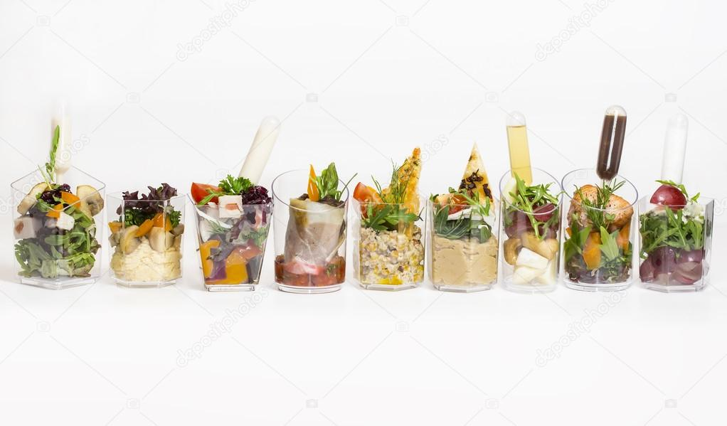 mini canape with meat and vegetables stock photo - Mini Canape