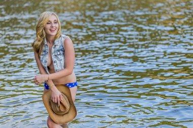 Blonde Outdoor Model In Water