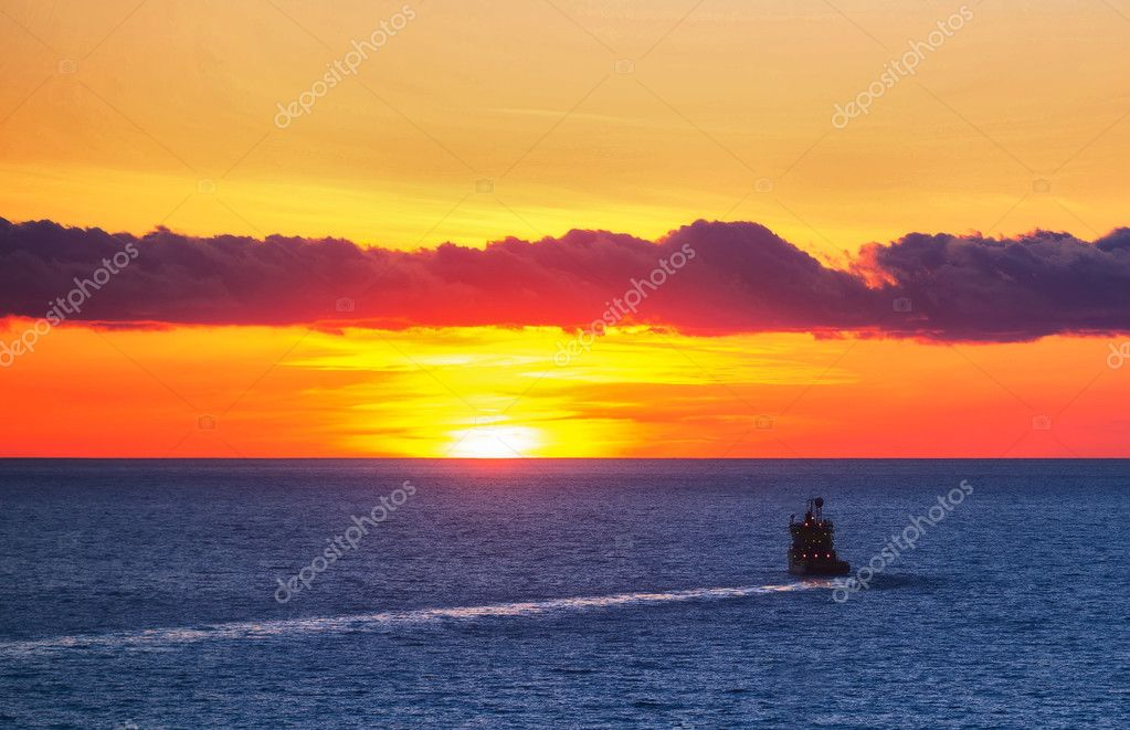 Ship, sea, sunset.