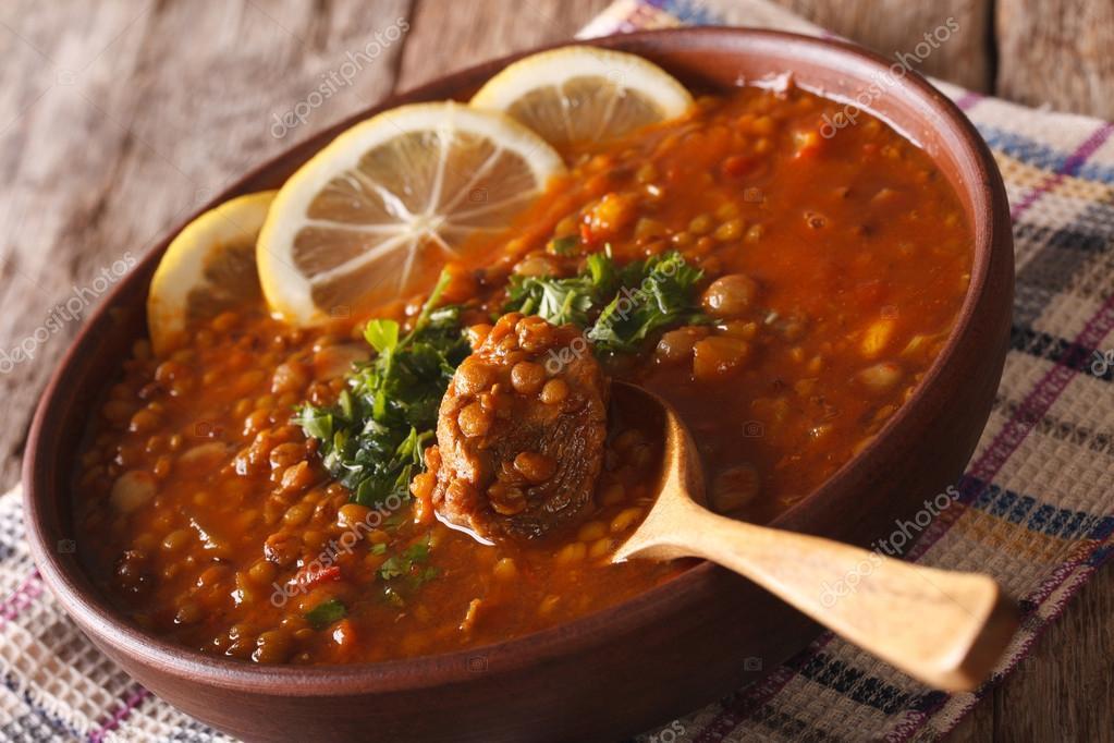 Potrawy Kuchni Arabskiej Harira Zupa W Misce Bliska Poziome