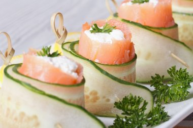 cucumber rolls with salmon, cream cheese macro horizontal