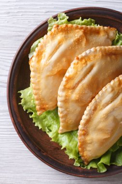 empanadas on a plate close-up. vertical view from above