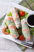 Fotografie spring roll with shrimp and vegetables, top view vertical