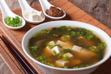 Japanese miso soup in a white bowl and ingredients close-up. Hor