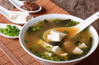Japanese miso soup in bowl with a spoon vertical