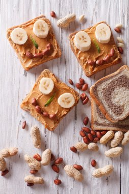 Funny sandwiches for children with peanut butter top view