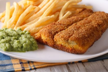 English food: fried fish fillets and chips close-up on a plate.