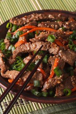 Korean Food: Bulgogi beef with carrot and onion closeup. vertica