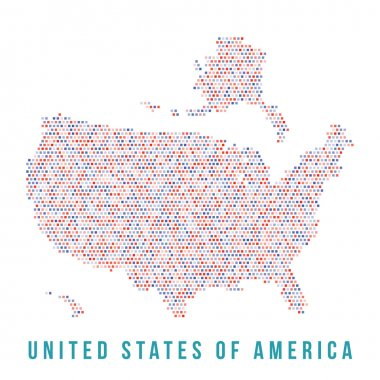 USA map square pixels,  white background