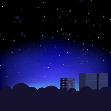 Silhouette of the city and night sky with stars