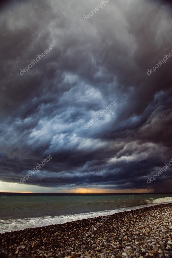 Seascape - stormy sky and raging sea