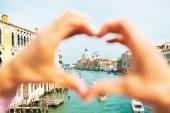 Santa maria della salute Benátky, Itálie, zarámovaná ve tvaru ha srdce