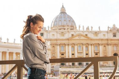 Portrait of young woman in front of basilica di san pietro in vatican city state stock vector