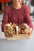 Fotografie Closeup on young housewife showing basket with mushrooms