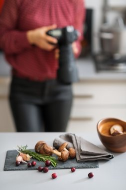 Woman photographer with autumn fruits and vegetables