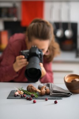 A woman photographer is leaning down, taking a close-up of autumn fruits and vegetables - mushrooms, garlic, rosemary, and cranberries. A wooden bowl sits on the modern kitchen counter. stock vector