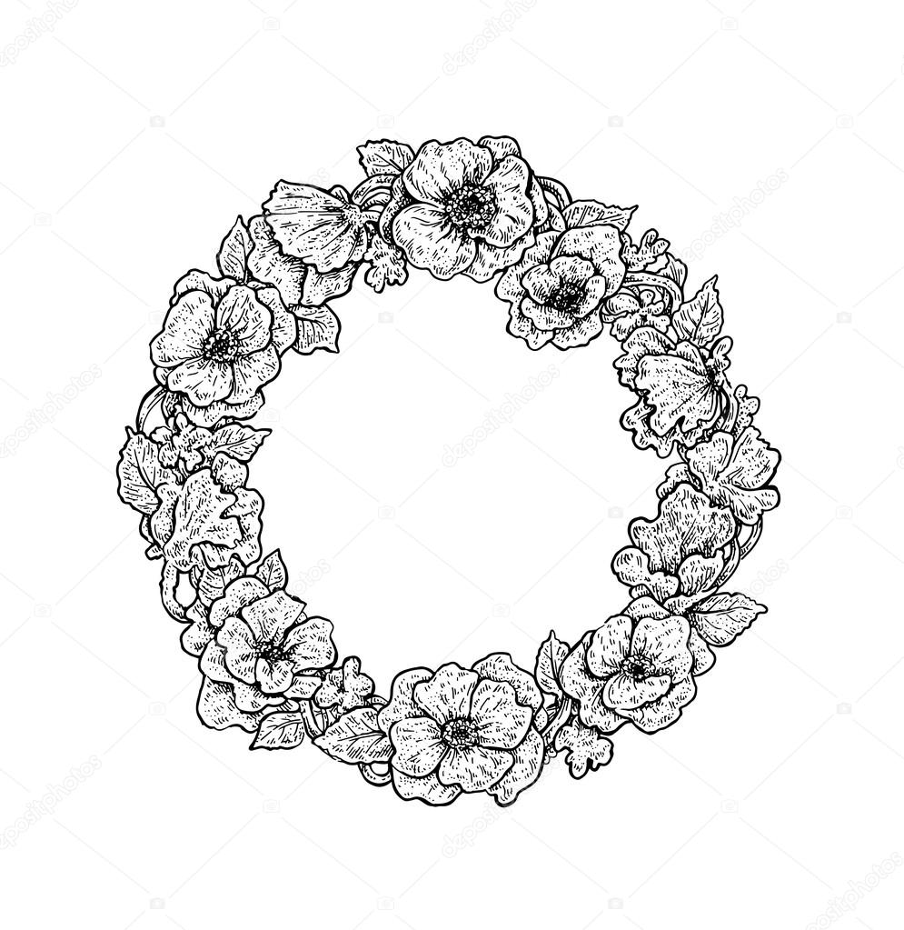Beautiful black and white hand drawn vintage style round floral