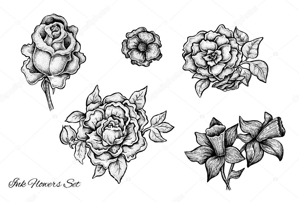 Set of raster hand drawn black and white flowers