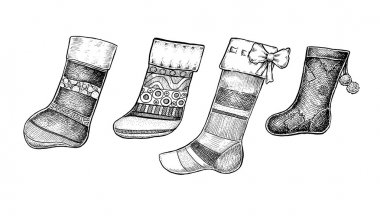 Set of four hand drawn ink Christmas socks