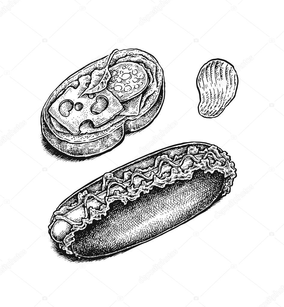 Blanco y negro dibujado a mano conjunto de comida rápida: sándwich ...
