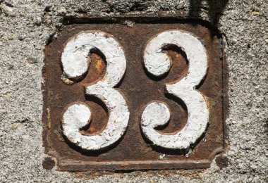 Old retro cast iron plate number 33