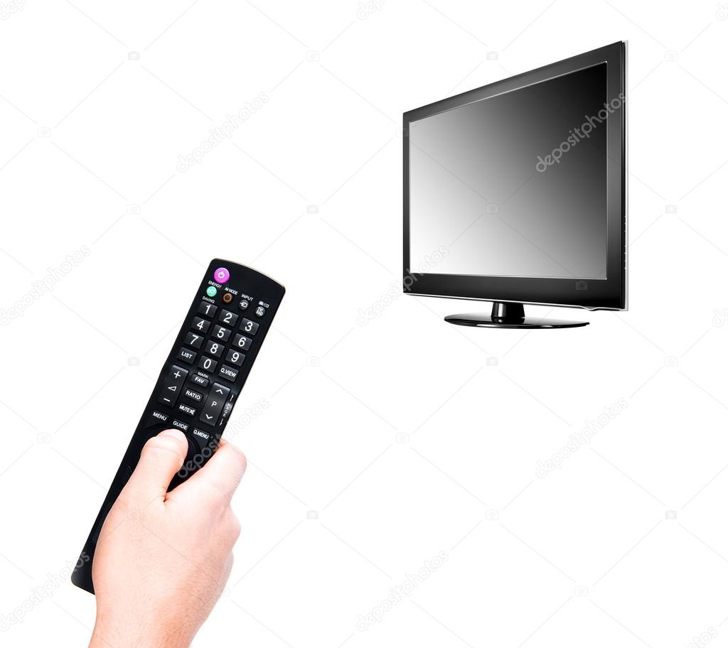 Hand with TV remote control — Stock Photo © ozaiachinn #63279933