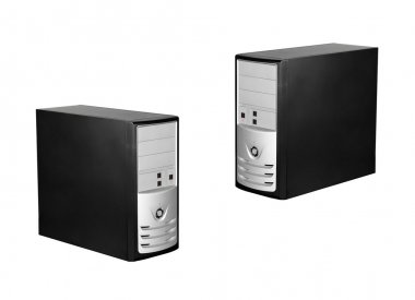 Computer cases isolated on white