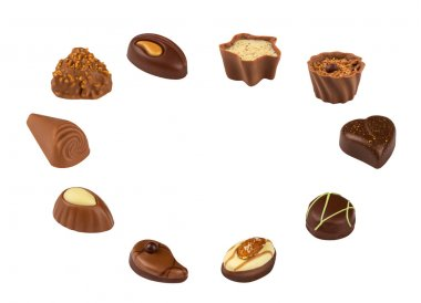 Mixed Chocolate candies on white