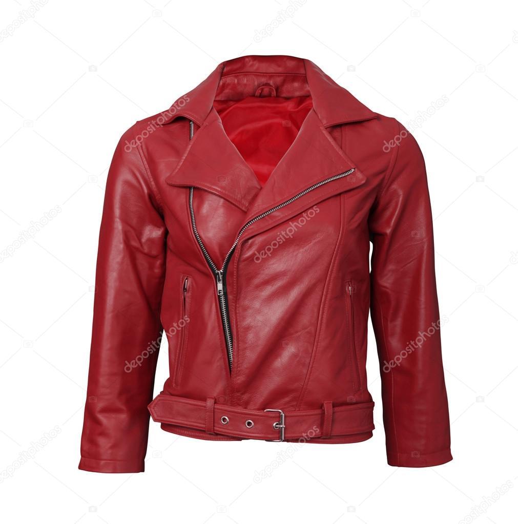 073733f1007 Κόκκινο δερμάτινο μπουφάν — Φωτογραφία Αρχείου · Red leather jacket on  white — Εικόνα από ozaiachinn| Ταυτότητα: 63281831