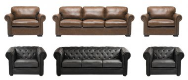 Leather sofas with armchairs