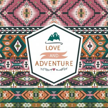 Seamless colorful decorative geometric pattern in tribal american style