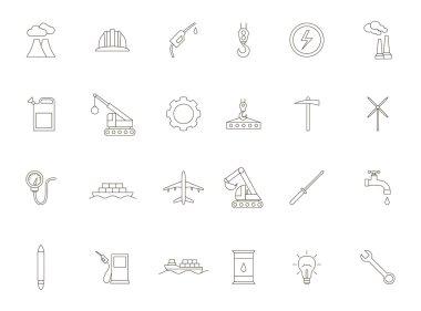 Industry black icons set
