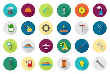 Industry vector round icons set