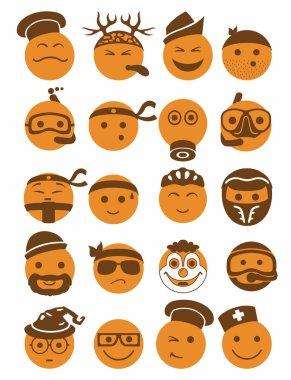 20 smiles icons set profession orange