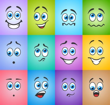 Smiles with emotions on colored background