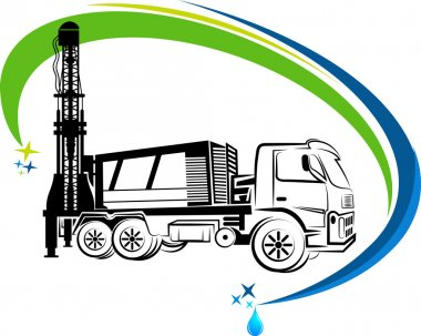 well drilling truck logo