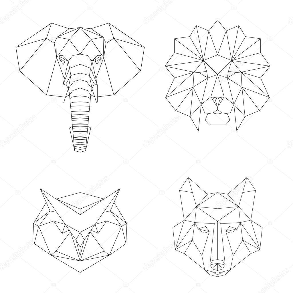 Dibujos Animales Geometricos Conjunto De Animales Geométricos