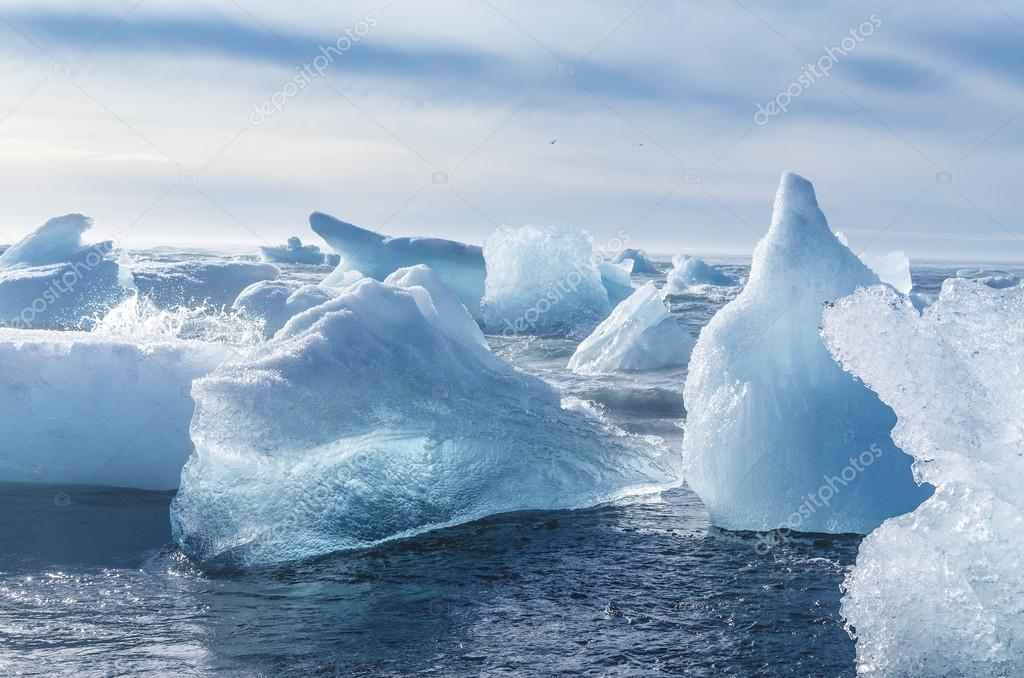 pieces of iceberg afloat