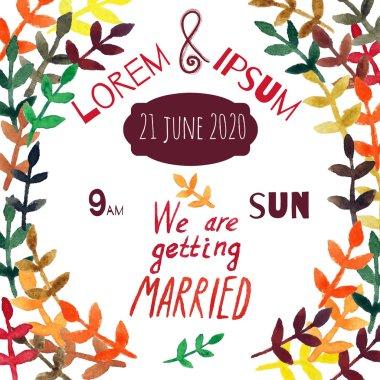 Wedding invitation card design watercolor handdrawn