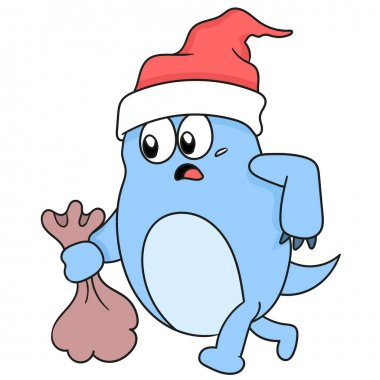 A monster in christmas hat is bringing a sack cartoon character icon