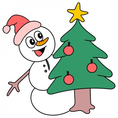 A snowman smiles behind christmas tree vector cartoon character illustration icon