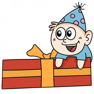 Birthday gift boxes for children. doodle icon image icon